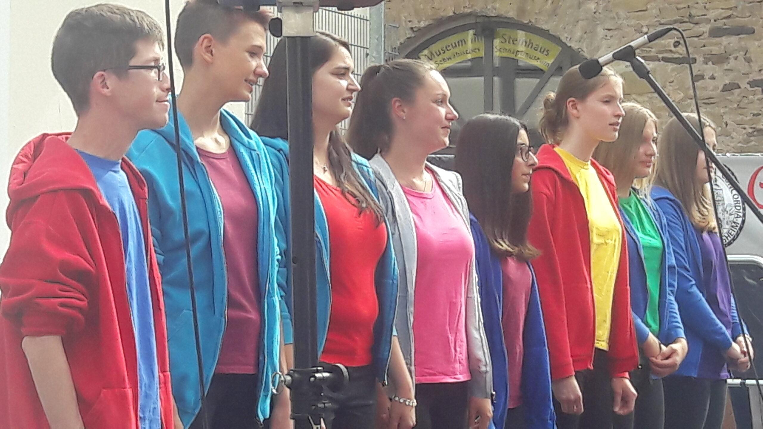 Jugendchor Crescendo beim Auftritt im Meierhof 2019